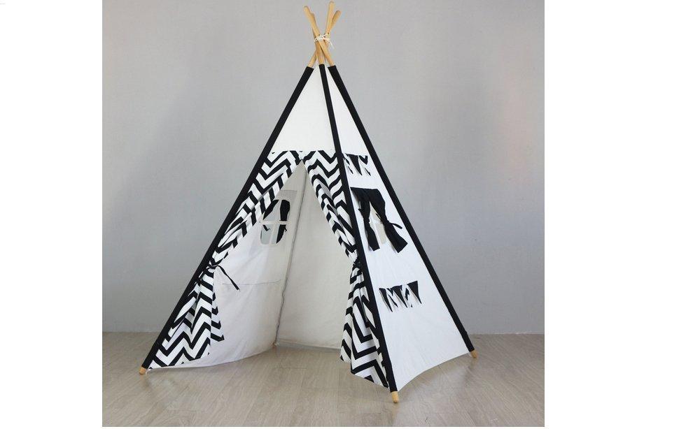 Noir Blanc Tipi tente Matissa Tapis de Tente tipi Indien pour Enfants Camping intérieur Playhouse et Accessoires (Bleu Marin, Tipi Tente)