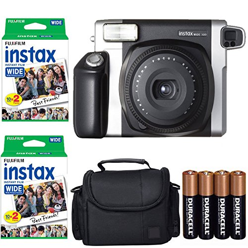 Fujifilm INSTAX 300 Photo Instant Camera With Fujifilm Instax Wide Instant Film Twin Pack Instant Film (40 Shots) + Camera Case With Photo4less Microfiber Cleaning Cloth Top Bundle - International Version (No Warranty) by Fujifilm