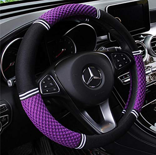 (Carmen Steering Wheel Cover 3D Massage Mesh Cloth Universal 15 Inch Durable Breathable Comfort Snug Grip (Purple))