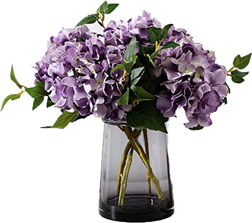 Purple Hydrangea Bouquet - Anlise Artificial Hydrangea Flowers Fake California Hydrangea Silk Bouquet Flower for Home Wedding Decor, Pack of 4 (Purple)