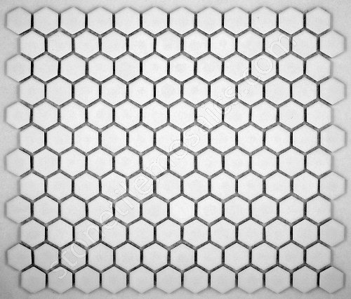 - Vogue Hexagon White Porcelain Mosaic Tile Matte Look Designed in Italy (Box of 5 sq. ft.)