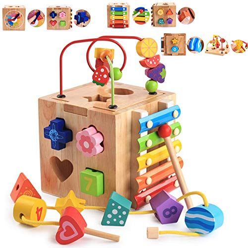 AiTuiTui Multi-Function Wooden Activity Cubes 5-in-1 Center, Bead Maze Roller Coaster Preschool Early Educational Learning Box Xylophone Piano Toys for Child Kids Boys Girls ()