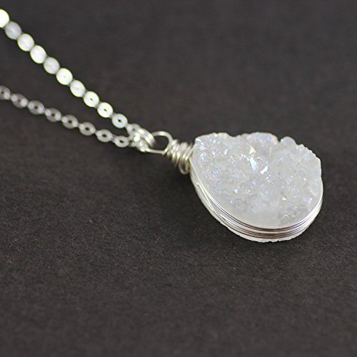 White Druzy Teardrop Sterling Silver Necklace - 20