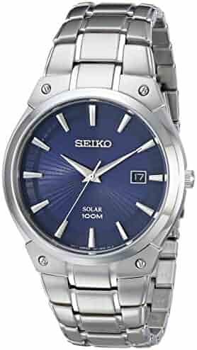 Seiko Men's SNE323 Dress Solar Analog Display Japanese Quartz Silver Watch