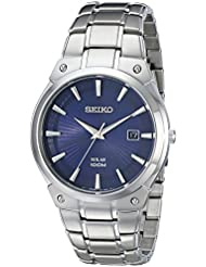 Seiko Mens SNE323 Dress Solar Analog Display Japanese Quartz Silver Watch