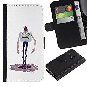KLONGSHOP / Tirón de la caja Cartera de cuero con ranuras para tarjetas - Cartoon Character Hands Skinny Man Skull - Samsung Galaxy S3 MINI NOT REGULAR! I8190 I8190N