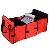 AutoLover Auto Trunk Organizer Folding Fabric Storage Box 3 Compartments Portable Car Trunk Organizer Container