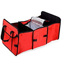 AUTOLOVER Trunk Organizer Cooler Storage Collapsible and Portable Folding Flat Fabric Container with 3 Compartments for Cars, Minivan, Vans, SUV Rear or Backseat - RED