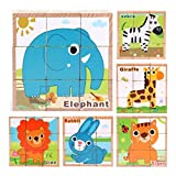 Gbell Six Sides Animal Building Blocks Wooden Puzzle 9Pcs/Set for Toddlers,13.5x13.5x5CM Jigsaw...