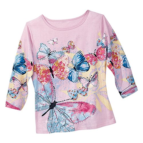 Women's Embellished Pastel Butterfly Top, Pink, (Butterflies Ladies Top)