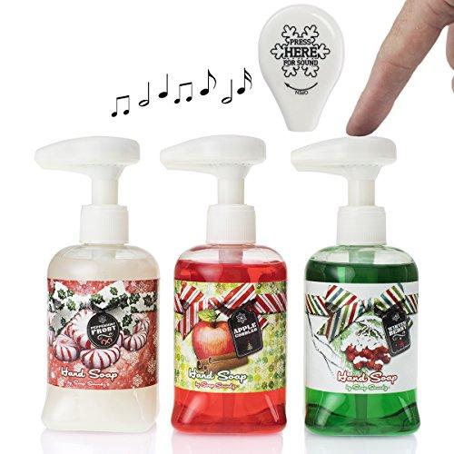 Soap Soundz (Set Of 3) 8.5oz Christmas Soap Dispenser with Music Pump For Liquid Soap, Bathroom, Sink, Home Decor, Christmas Decorations, Gift