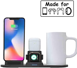 Coffee Mug Warmer Wireless Charger Station, 4 in 1 Wireless Charging Stand Dock Beverage Drink Desk Cup Heater Compatible With iPhone 11 Xs Max Xr 8 Plus Airpods Pro 2 1 Apple Watch Series 5 4 3 2 1