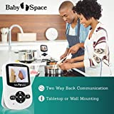 """Baby Monitor with Camera by Baby Space - Premium Wireless Video 2.4"""" LCD Digital Screen Infrared Night Vision Temperature Monitoring 2 Way Talk Back System Extra Long Range Superb Battery life"""