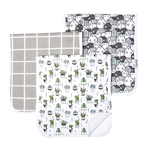 """Baby Burp Cloth Large 21x10 Size Premium Absorbent Triple Layer 3 Pack Gift Set """"Urban Set"""" by Copper Pearl"""