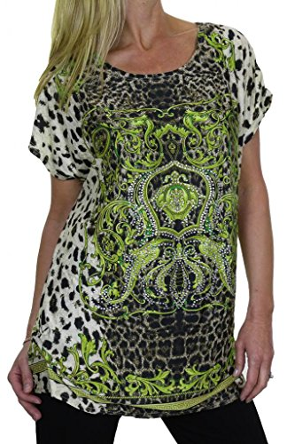 (4035-3) Tunica in Animal Green Stampa Gloss con strass Crest (formato 40-48)