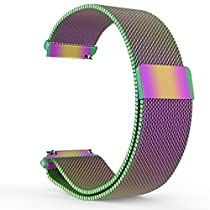 Fitbit Blaze Watch Band, MoKo Milanese Loop Stainless Steel Bracelet Smart Watch Strap for Fitbit Blaze Smart Fitness Watch with Unique Magnet Lock, No Buckle Needed, Frame NOT Included - COLORFUL