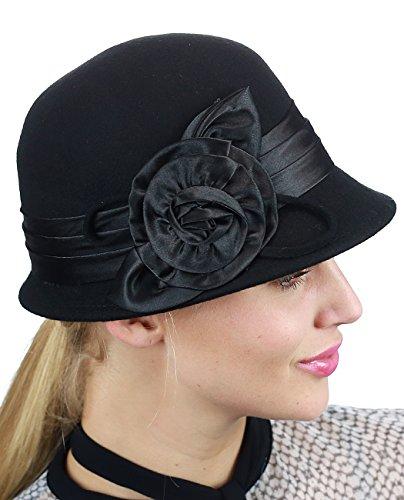Black Satin Cloche Hat (NYFASHION101 Women's Satin Band Flower Accent Wool Felt Bucket Cloche Hat, Black)