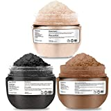 QQCute Himalayan Charcoal Coffee Body Scrub 3 in 1 set 18 oz with Essential Oil All Natural Salt Scrubs to Exfoliate & Moisturize Skin Birthday Gifts for Women Great Gift Set for Girlfriend