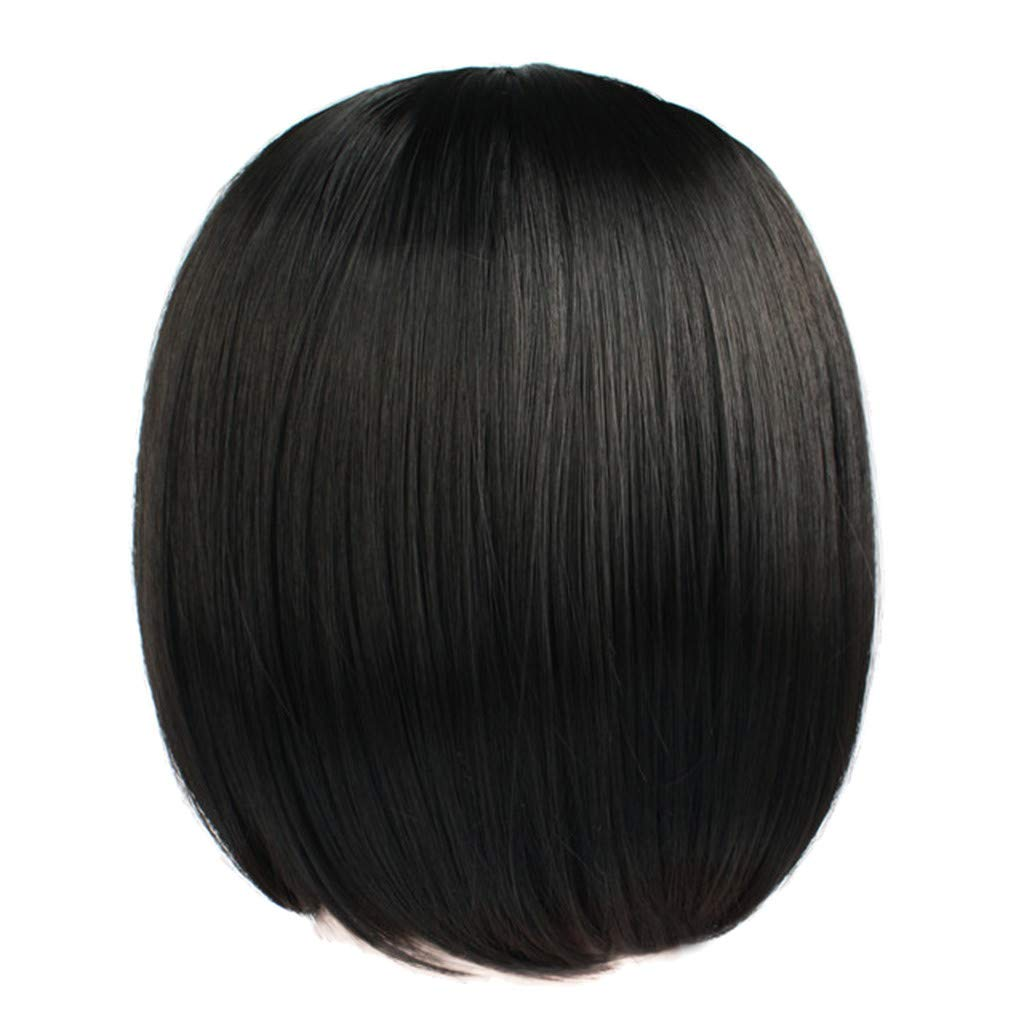 Synthetic Bob Wig for Women Short Off Black Bob Natural Looking Straight Ladies Daily Hair Wig with Bangs for Cosplay