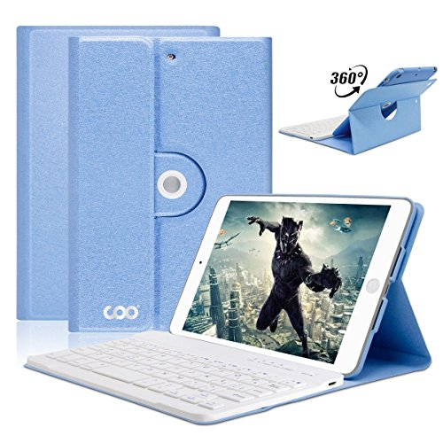 iPad Mini Keyboard case,COO Wireless Removable Bluetooth Keyboard Case for Apple iPad Mini 1/2/3 with 360 Degree Rotation and Multi-Angle Stand (Sky Blue) by COO