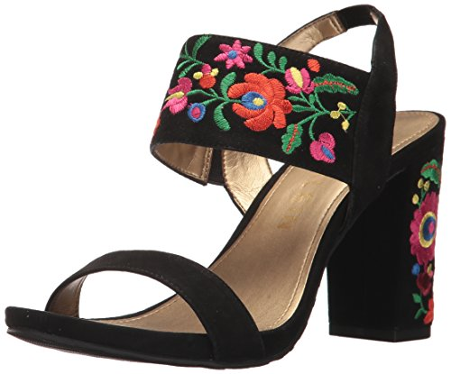 Anne Klein Women's Orinda Suede Heeled Sandal, Black, 8.5 M US