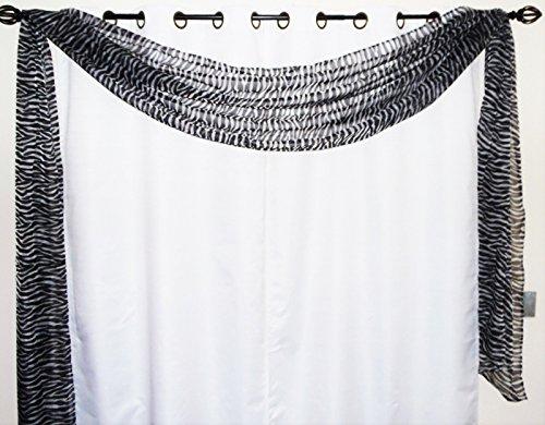 Gorgeous Home 1 Decorative Zebra Grayish Print Elegant Scarf Valance Sheer Voile Window Panel Curtain 216