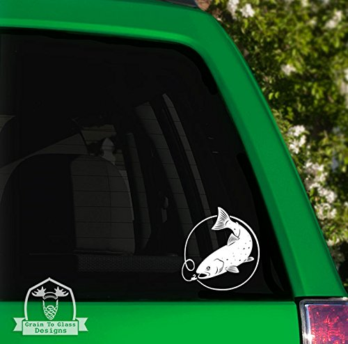 Grain To Glass Designs Rainbow Trout with Lure Vinyl Car Decal - 6
