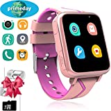 Kids Smart Watch with Music Player - Boys Girls Smart Music Watch with GPS/LBS Tracker Activity Fitness Tracker Pedometer Camera FM SOS Alarm Clock Flashlight Childrens Learning Toys Gifts (Pink)