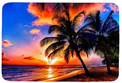 (OneHoney Beach,Palm Trees Sunset Indoor/Kitchen/Bathroom Mats Rubber Non Slip Door Mats 15.7 x 23.6inch)