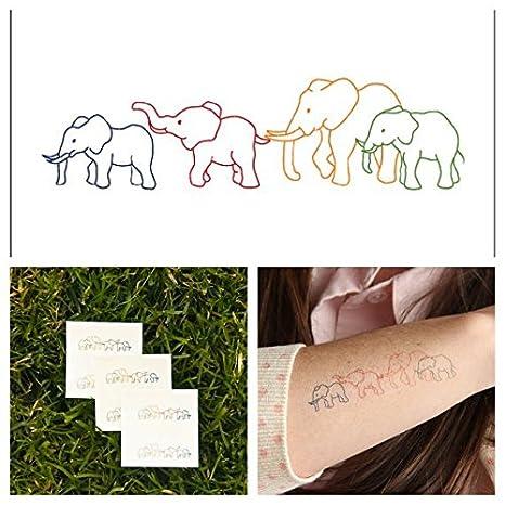 Tatuaje Temporal Tattify Animal Familia De Elefantes Juego De 2