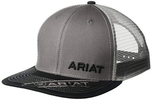 Ariat Hat (Ariat Men's Offset Name Mesh Cap, Gray, OSFM)