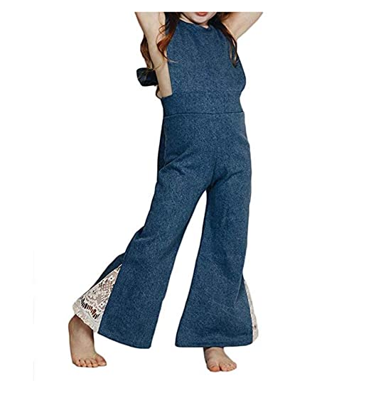 d27a3537748f Toddler Baby Girls Denim Bow-Knot Halter Sleeveless Jumpsuit Wide Leg Pants  Lace Bell-