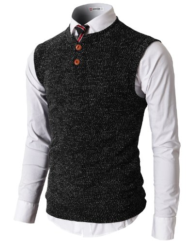 H2H Mens Casual Slim Fit Knitted Sweater Suits Vest With Two Button BLACK US 3XL/Asia 4XL (KMOV026)