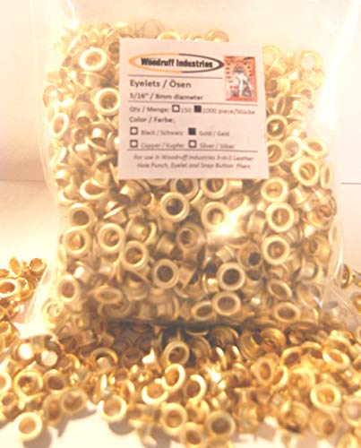 "1000 GOLD Colour eyelet pieces 8mm (5/16"") finished size 