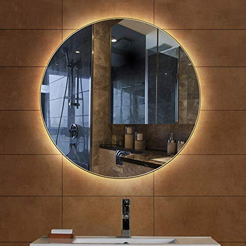 Bathroom Mirror Led Illuminated Round Lighted Vanity Makeup Wall Mounted Lights Cosmetic -