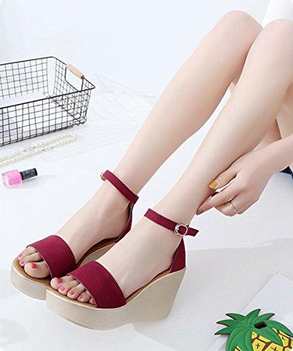 de Negro Primavera talón 43 Color Cuero tamaño Rojo cuña Nubuck Sandalias Confort Verde para Zapatos Casual Rojo Verano Mujer Aw7IAd