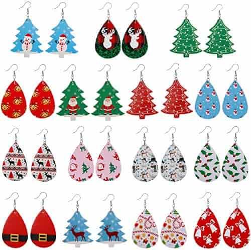 15 Pairs Petal Leather Earrings Antique Looking Faux Leather Teardrop Long Dangle Earrings Lightweight Leaf Red Handmade Drop Earrings Gift For Teens Girls Women