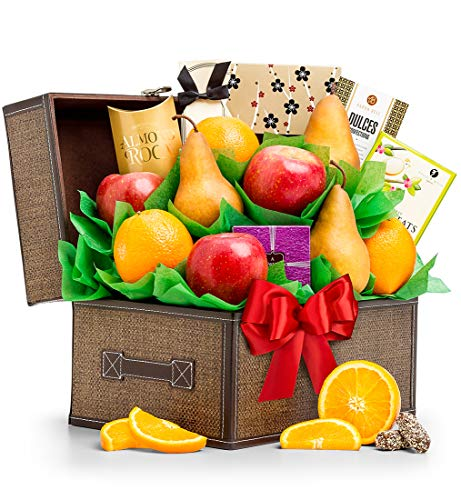 GiftTree Fresh Fruit and Gourmet Snack Gift Basket | Healthy Snack Basket Includes Delicious Fresh Fruit, Roasted Peanuts, Almond Roca & More ()