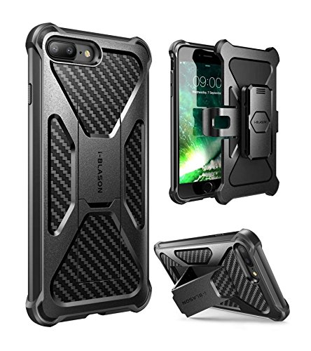 (i-Blason Case for iPhone 7 Plus/ 8 Plus 2017, Transformer [Kickstand] [Heavy Duty] [Dual Layer] Combo Holster Cover case with [Locking Belt Swivel Clip] (Black))