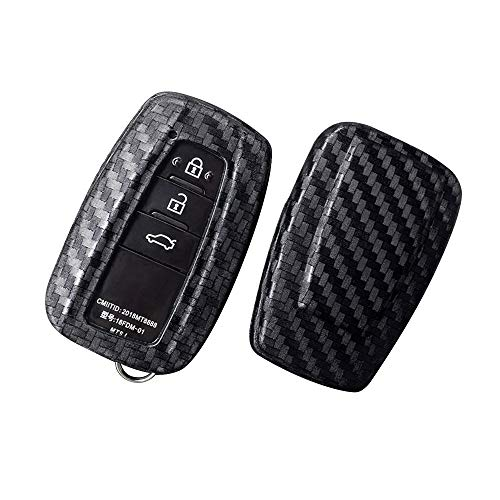 Ceyes Car Key Fob Cover Remote Key Cover Smart Key Cover Carbon Fiber Texture Key Cover for Toyota Camry Prius C-HR 2017 2018 2019 Avalon Corolla Hatchback 2019 2 3 4 Buttons-2pcs Key Protect Cover