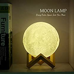 Moon Lamp by The Moose Company   3D glowing LampHome Decorative Hanging Light With Wood Holder   Warm and Cool White Dimmable LED Touch ControlNight Light for kids room