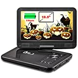 """DR.J 5 Hours 10.5"""" Swivel Screen Portable DVD Player with Built-in Rechargeable Battery and USB/SD Card Reader, 5.9ft/1.8M Car Charger & Battery Adapter"""