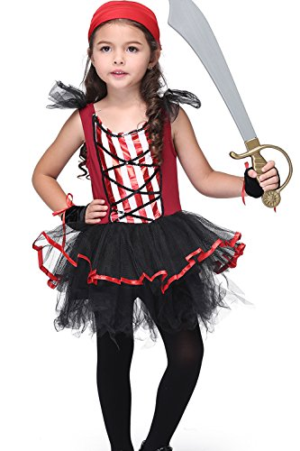 Honeystore Girl's Rogue Pirate Costume Cosplay Dressing Up for Halloween Party (Little Girl Pirate Costume Ideas)