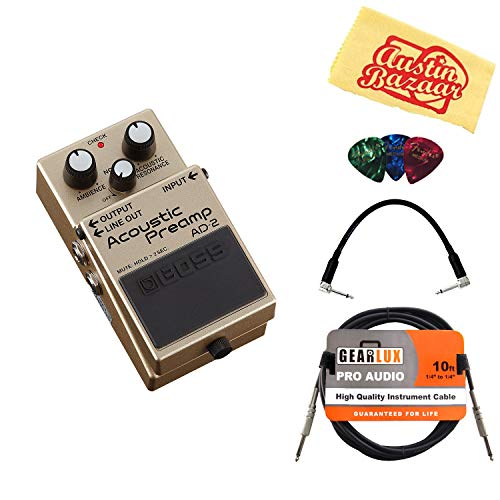 Boss AD-2 Acoustic Preamp Bundle with Instrument Cable, Patch Cable, Picks, and Austin Bazaar Polishing ()