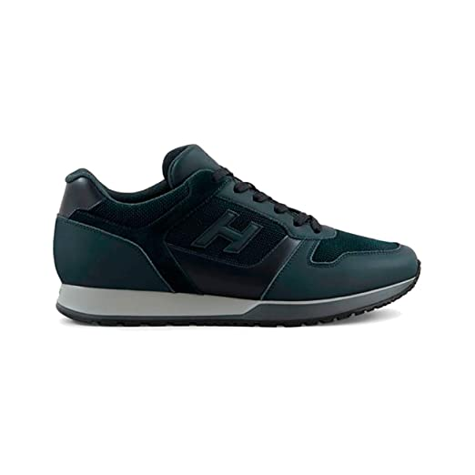 ef58bfed48 Amazon.com: Hogan Sneakers H321 in Leather Blue/Black, Mens, Size: 9 ...
