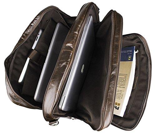 JUNJIAGAO-Bags Mens Shoulder Bag Vintage Leather Business Mens Large Leather Tote 17 Computer Briefcase Color : Brown, Size : L