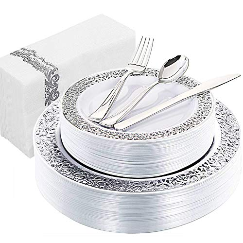 WDF 150PCS Silver Plastic Plates with Disposable Plastic Silverware&Hand Napkins, Lace Design include 25 Dinner Plates,25 Salad Plates,25 Forks, 25 Knives, 25 Spoons,25Disposable Napkins -