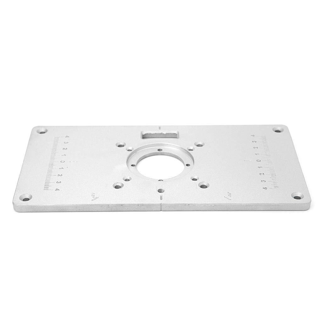 JOYKK 700C Aluminio Router Table Insertar Placa Plata 4 Anillos Tornillos para Bancos de carpinter/ía