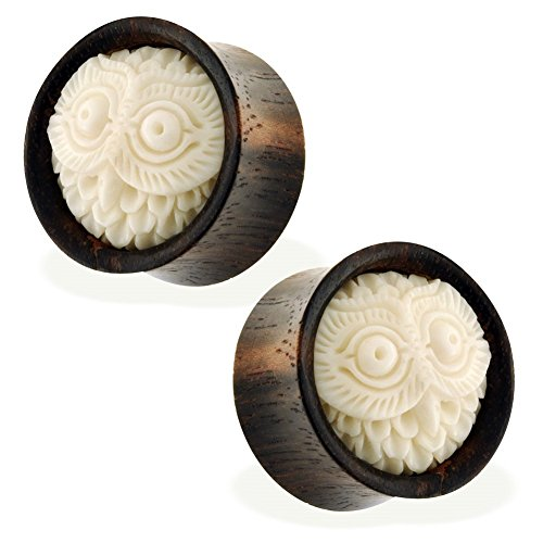 Pair Of Organic Wooden Saddle Fit Plugs With Buffalo Bone Carved Owl, Gauge: 1