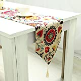 MeMoreCool Table Flag/Runner Sunflower Pattern Fringe Cotton 12 X 87 Inch Colorful